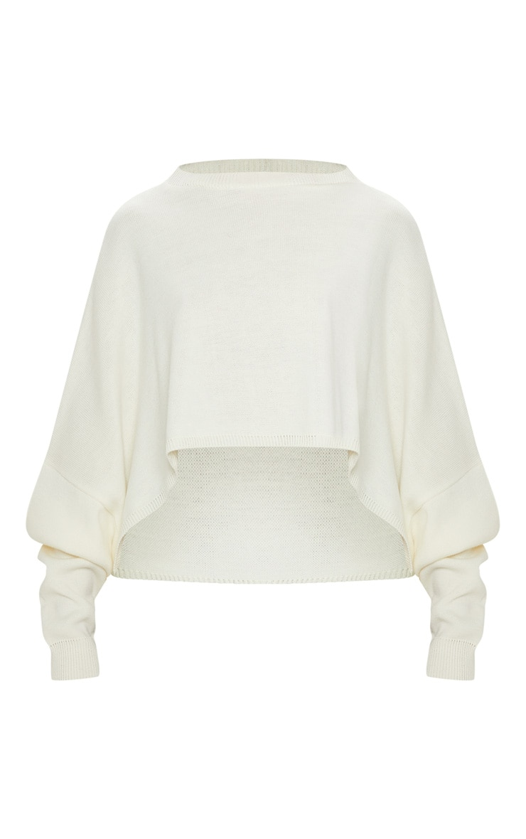 Cream Knitted Cropped Sweater  3