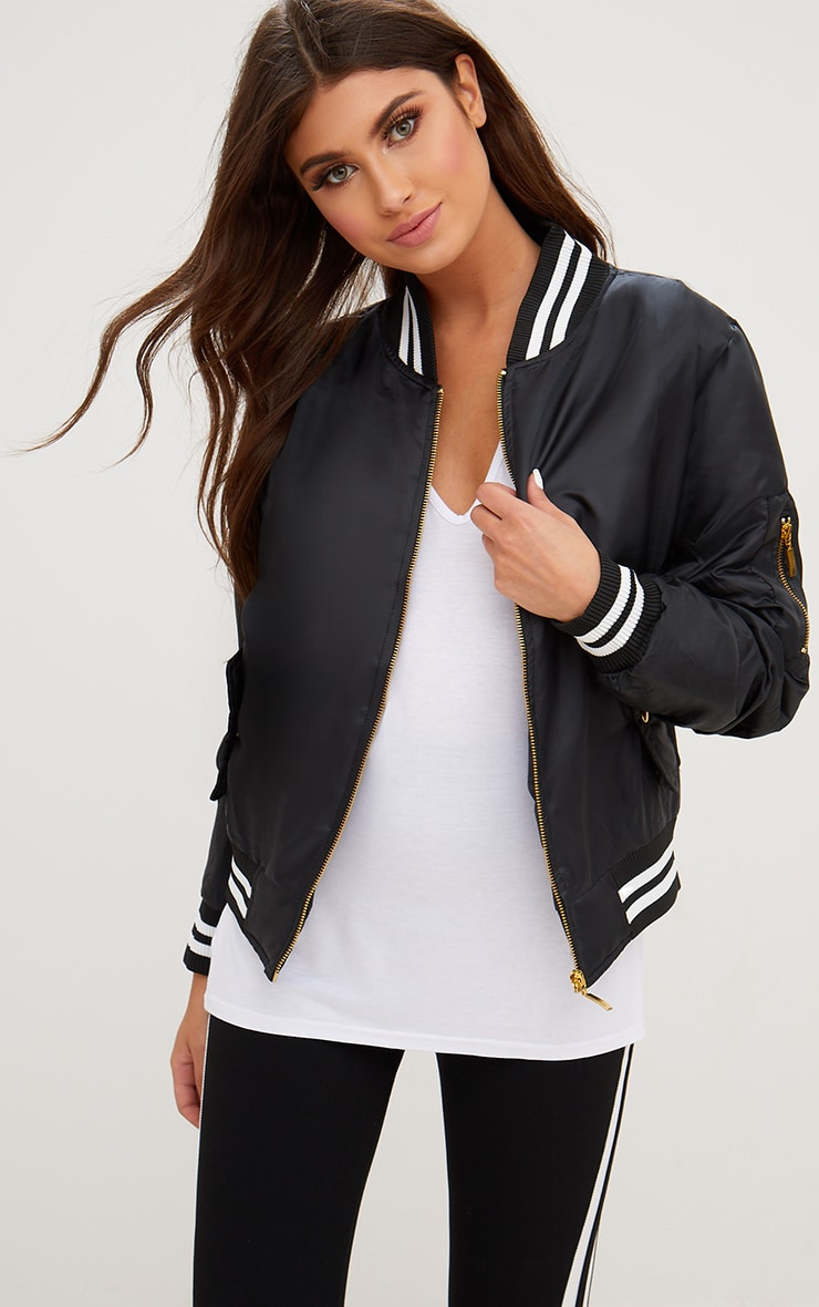 Black Sports Trim Bomber Jacket 1