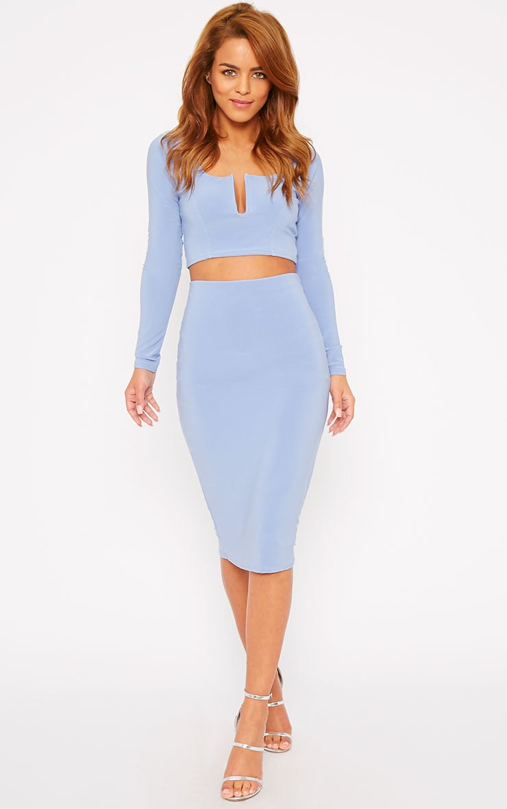 Bessie Powder Blue Slinky Midi Skirt 1