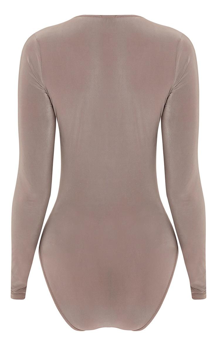 Sadie Mocha Slinky Wrap Bodysuit 4