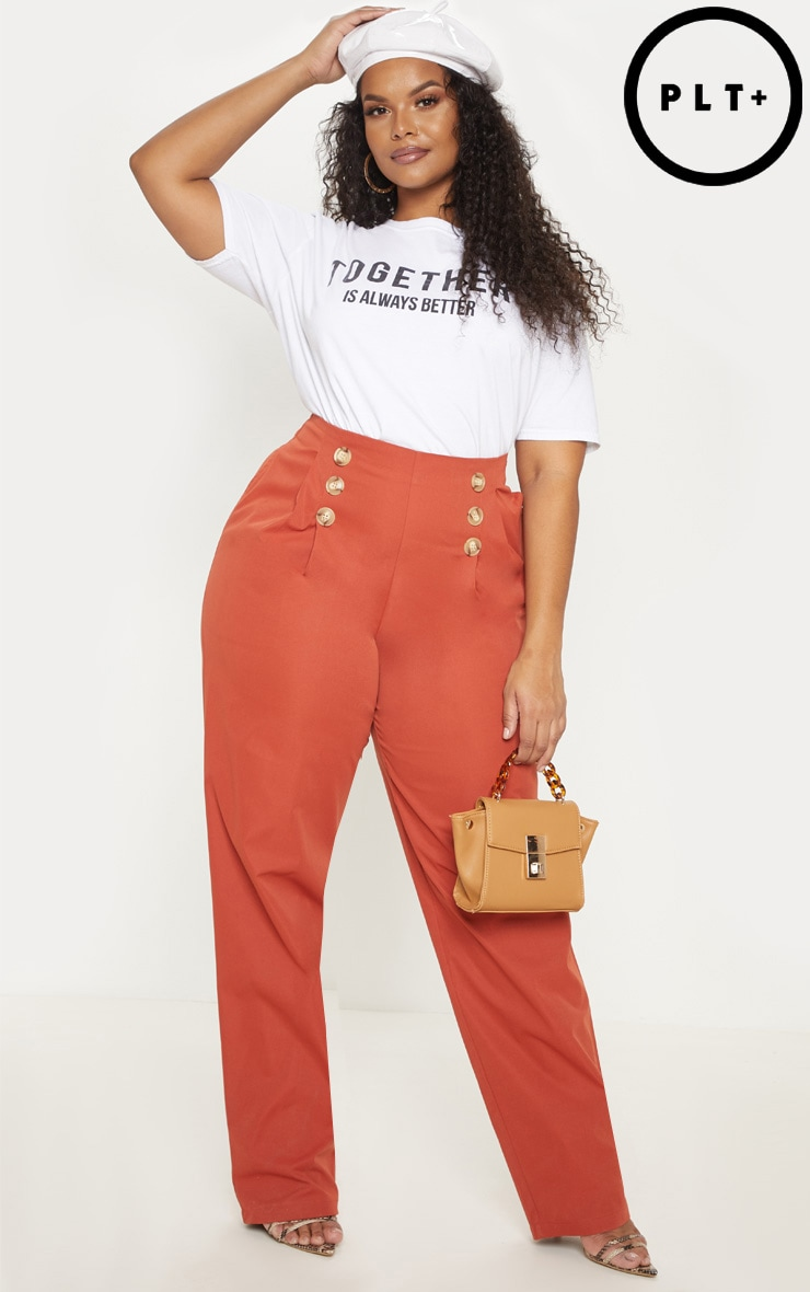 Plus Rust Button Front Pleat Detail Wide Leg Pants