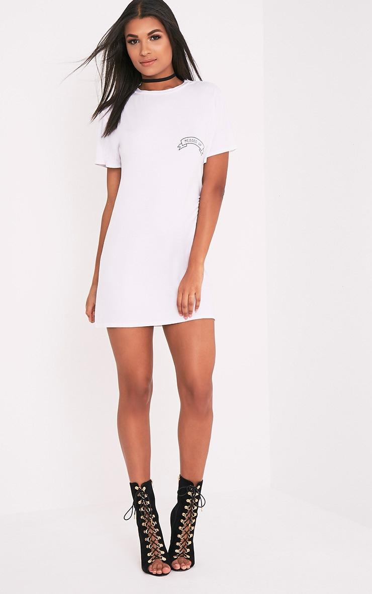 Messed Up Slogan White T Shirt Dress 5