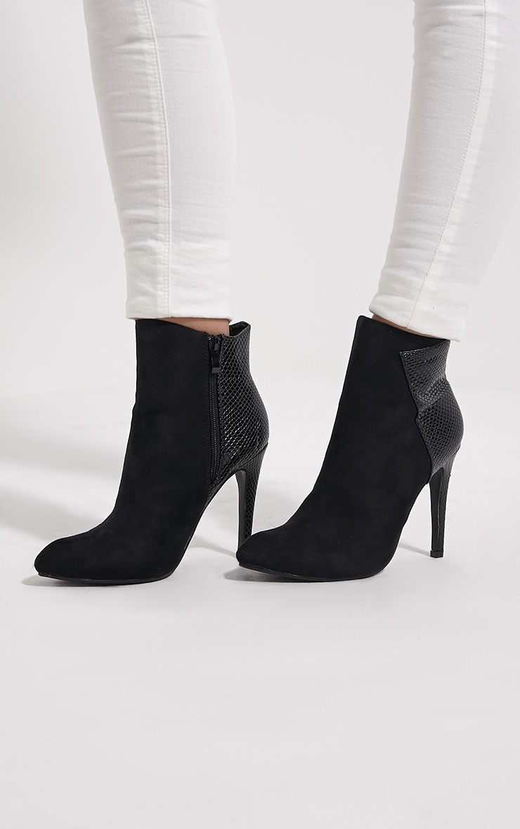 Neve Black Faux Suede Pointed Croc Heel Boots 1
