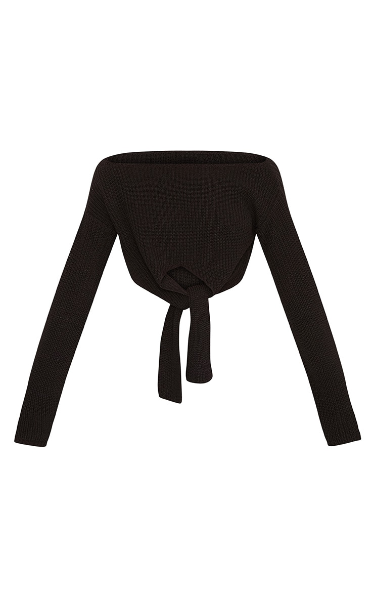 Bess Black Front Tie Detail Mini Cropped Jumper 3