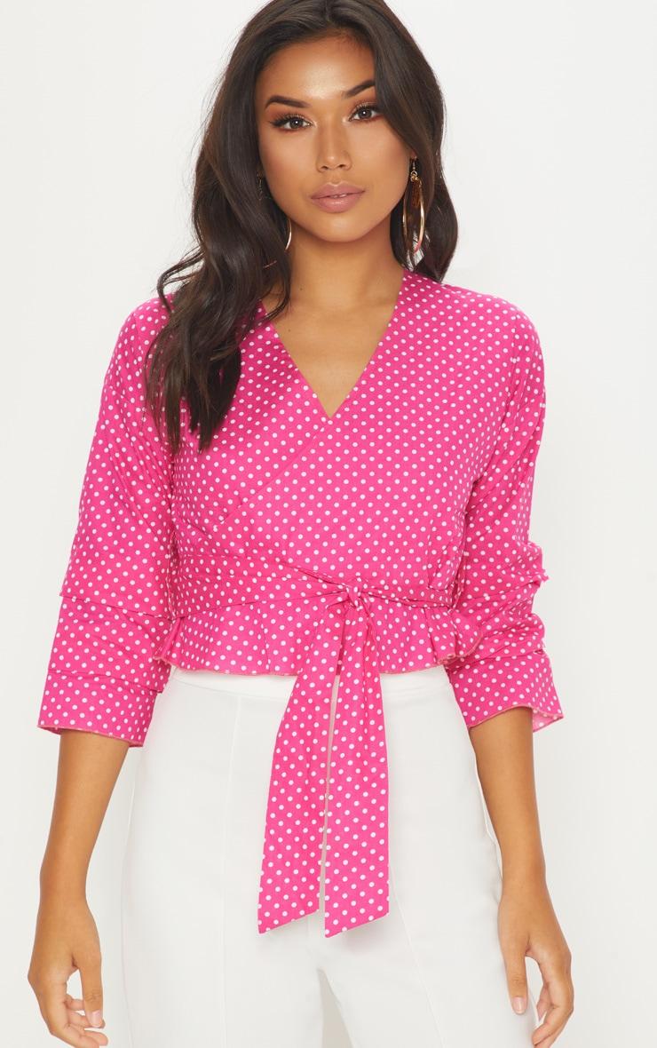 Pink Woven Polka Dot Wrap Tie Blouse 1