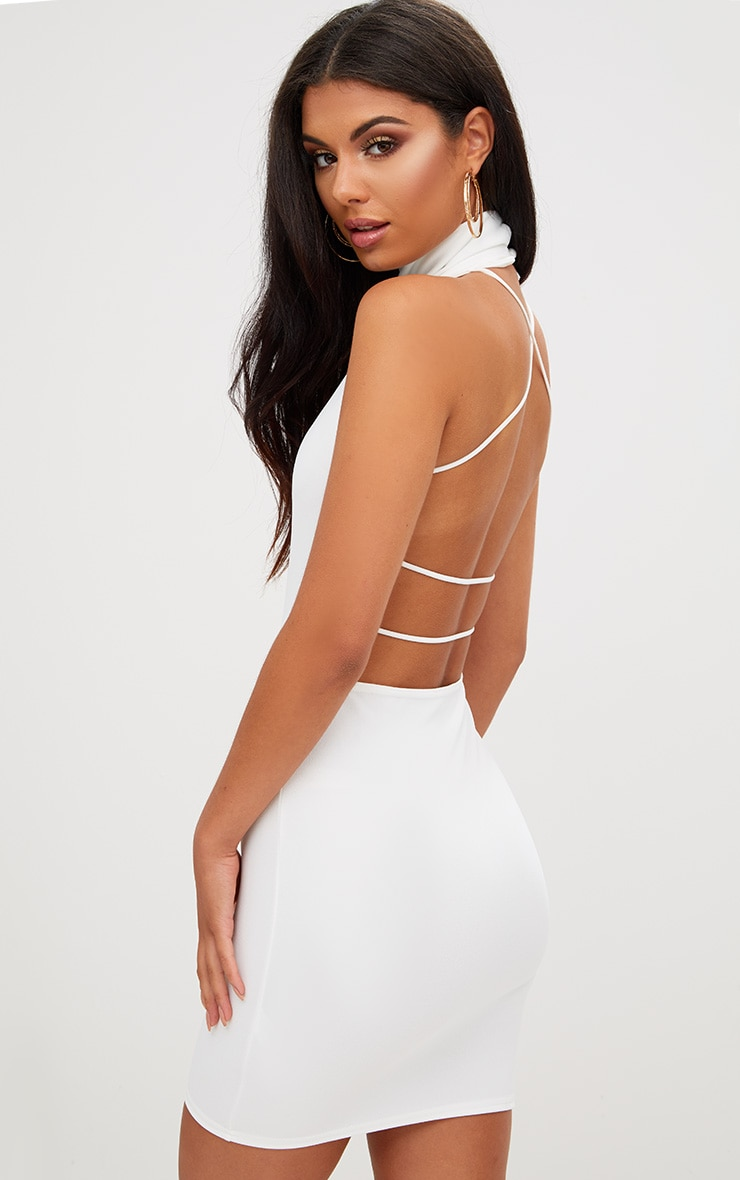 White Lace Up Back Extreme High Neck Detail Bodycon Dress 1