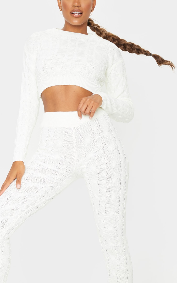 Cream Cable Knit Leggings And Sweater Set 4