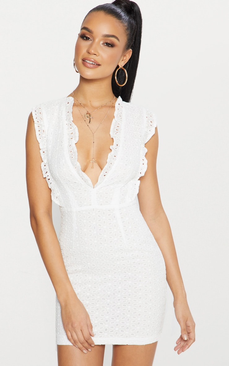 White Broderie Anglaise Ruffle Detail Plunge Bodycon Dress 1