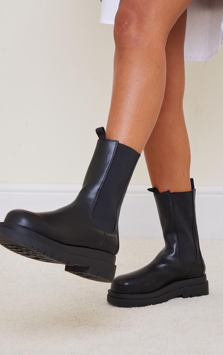 Black PU Calf Length Chelsea Chunky Boots 1