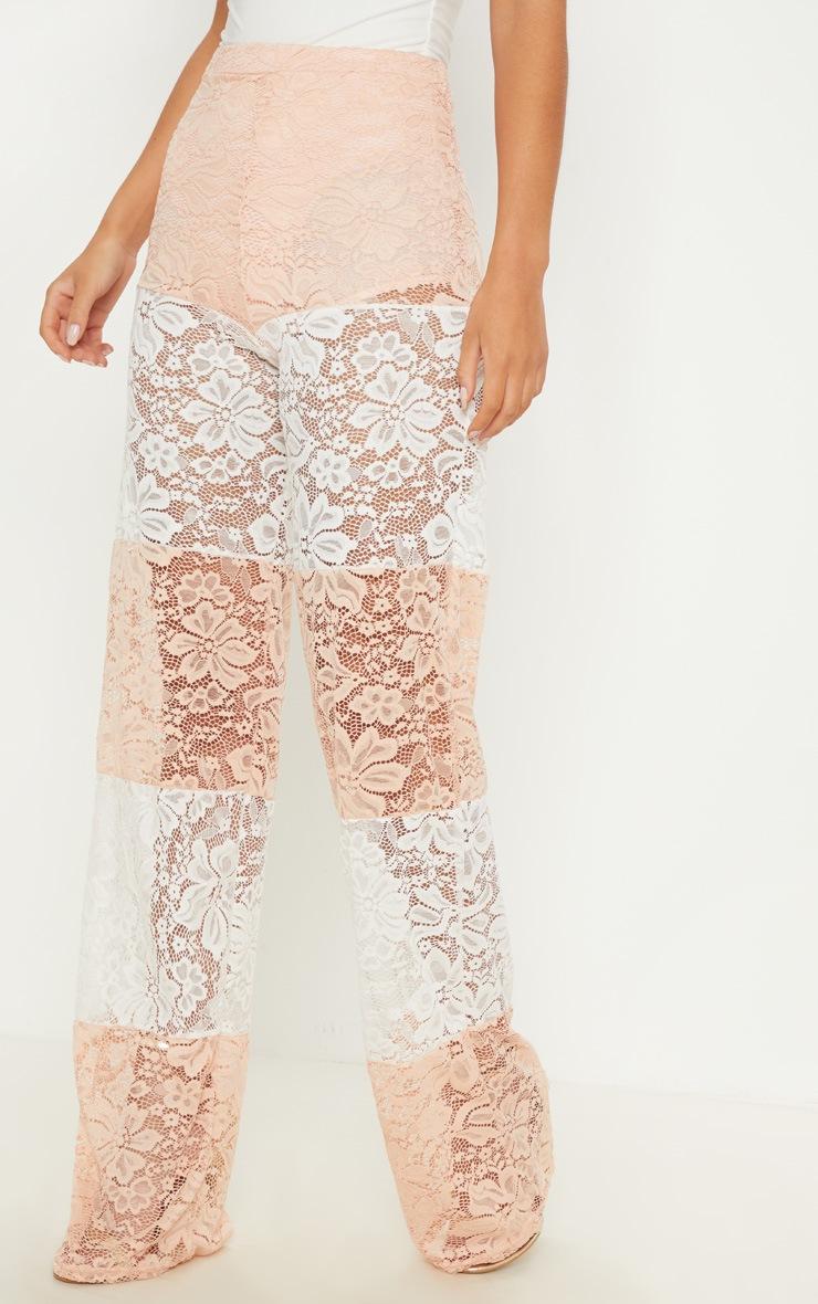 White Colour Block Stripe Lace Wide Leg Trouser 2