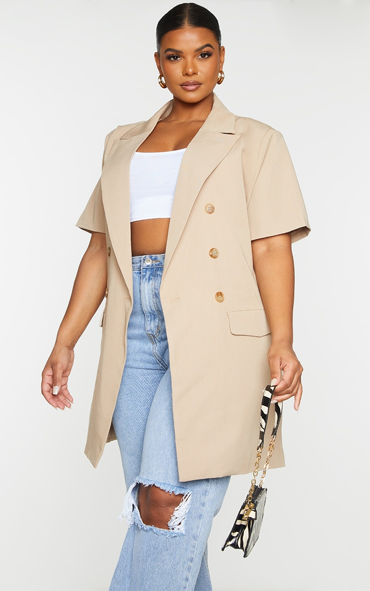 Plus Cream Woven Short Sleeve Longline Belted Blazer 1