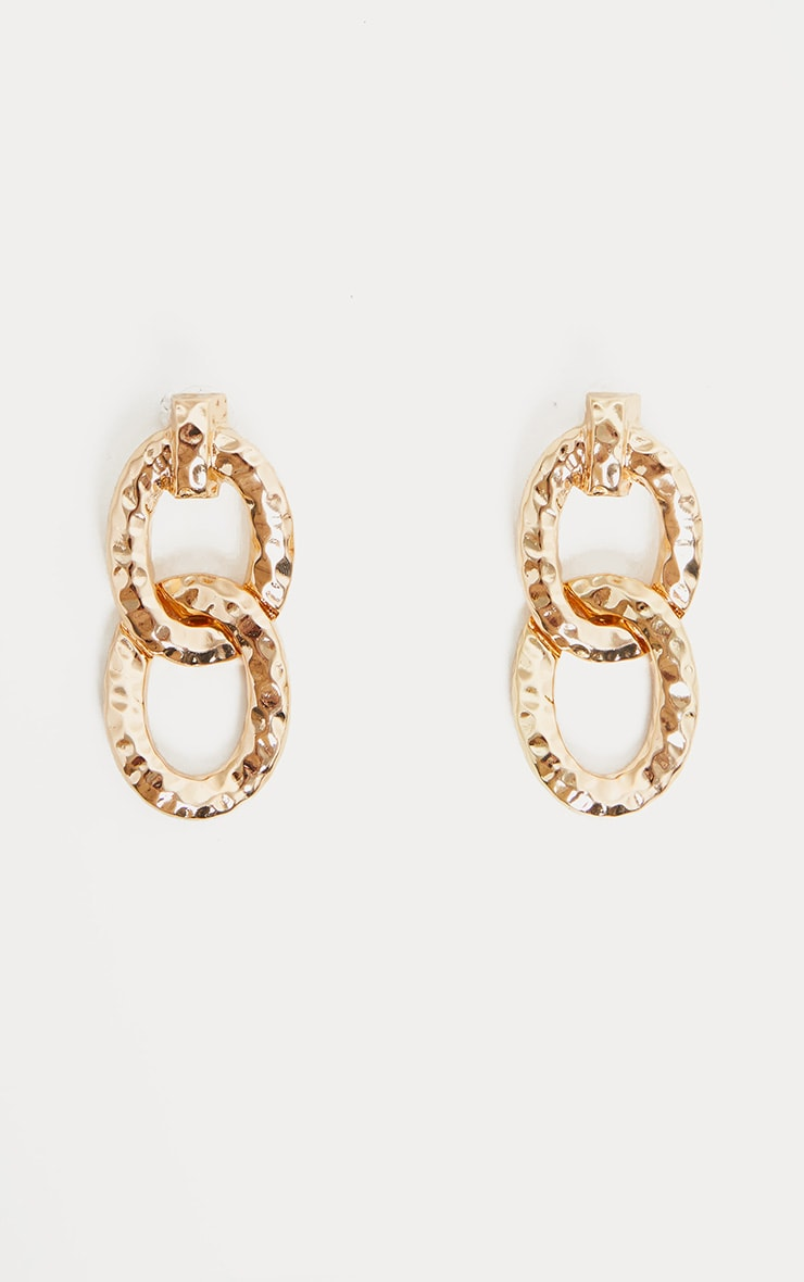 Gold Textured Double Drop Earrings 2