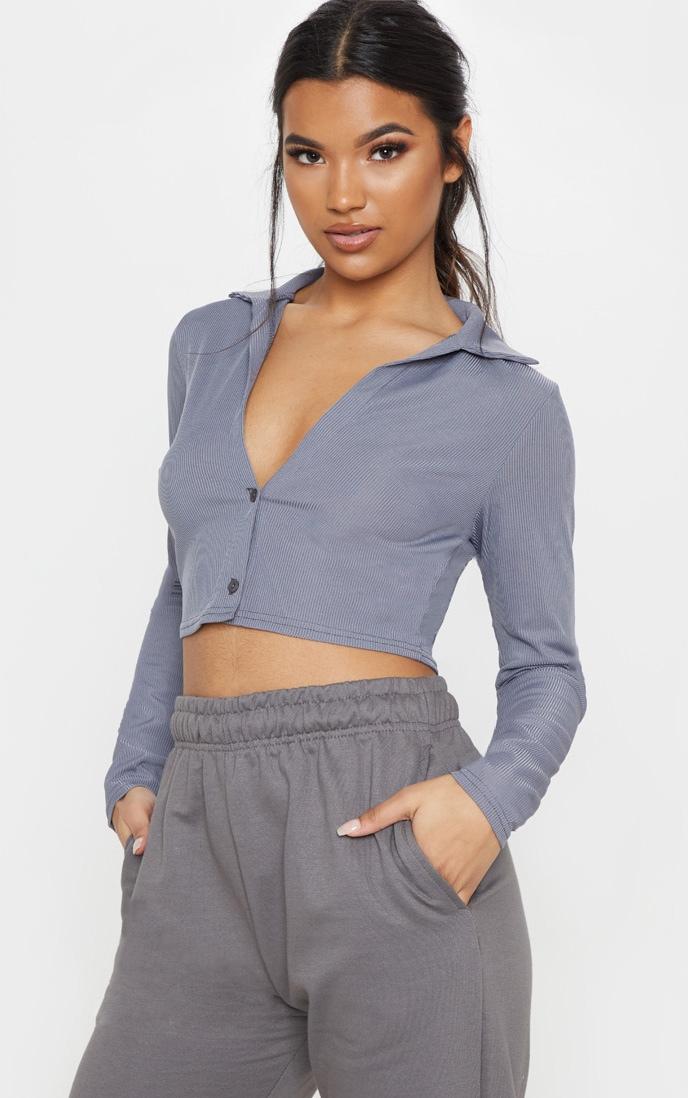 Grey Rib Plunge Crop Shirt 1