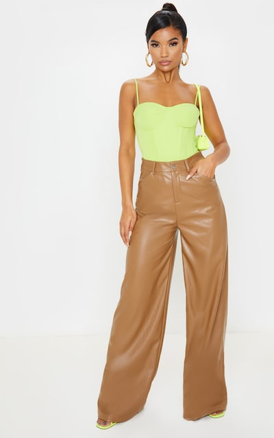 Tan Faux Leather Contrast Stitch Wide Leg Trouser
