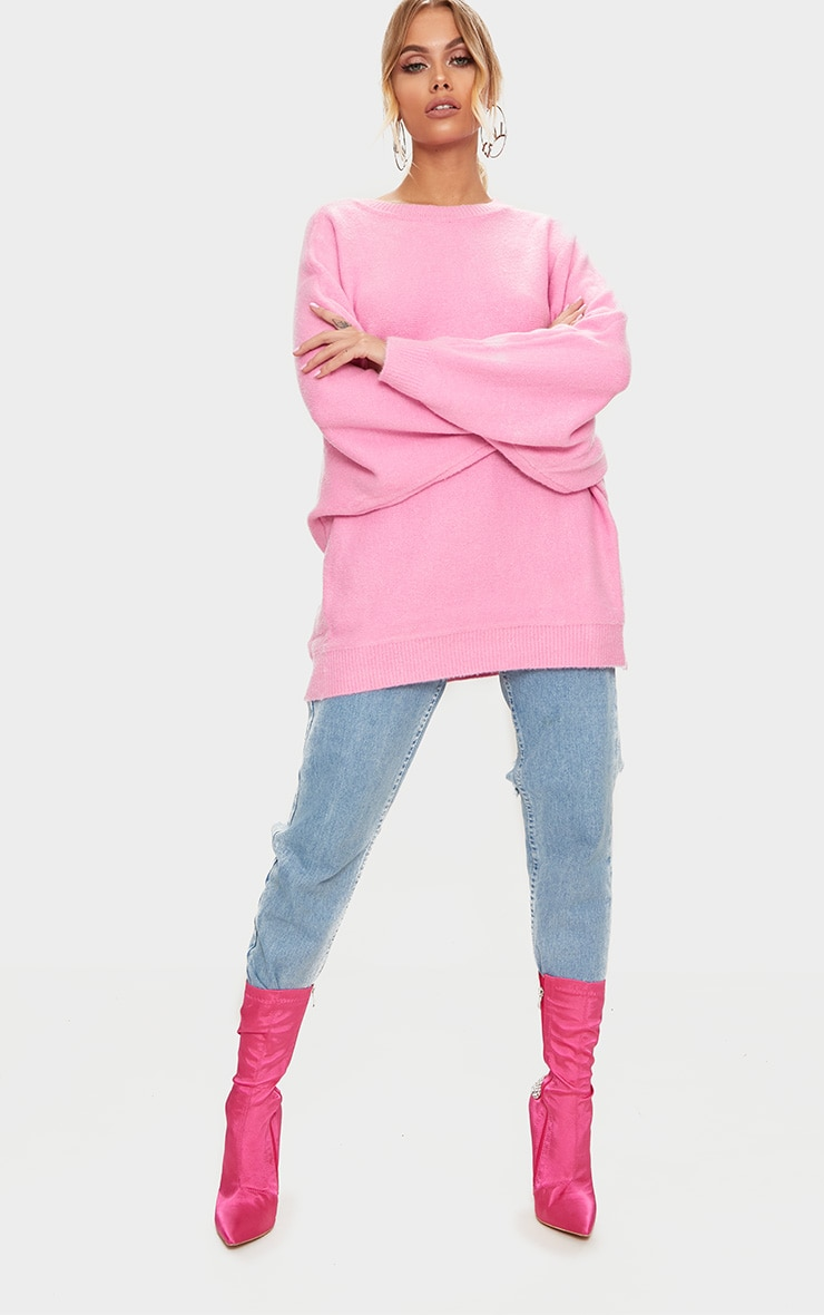 Pink Oversized Knitted Jumper 4