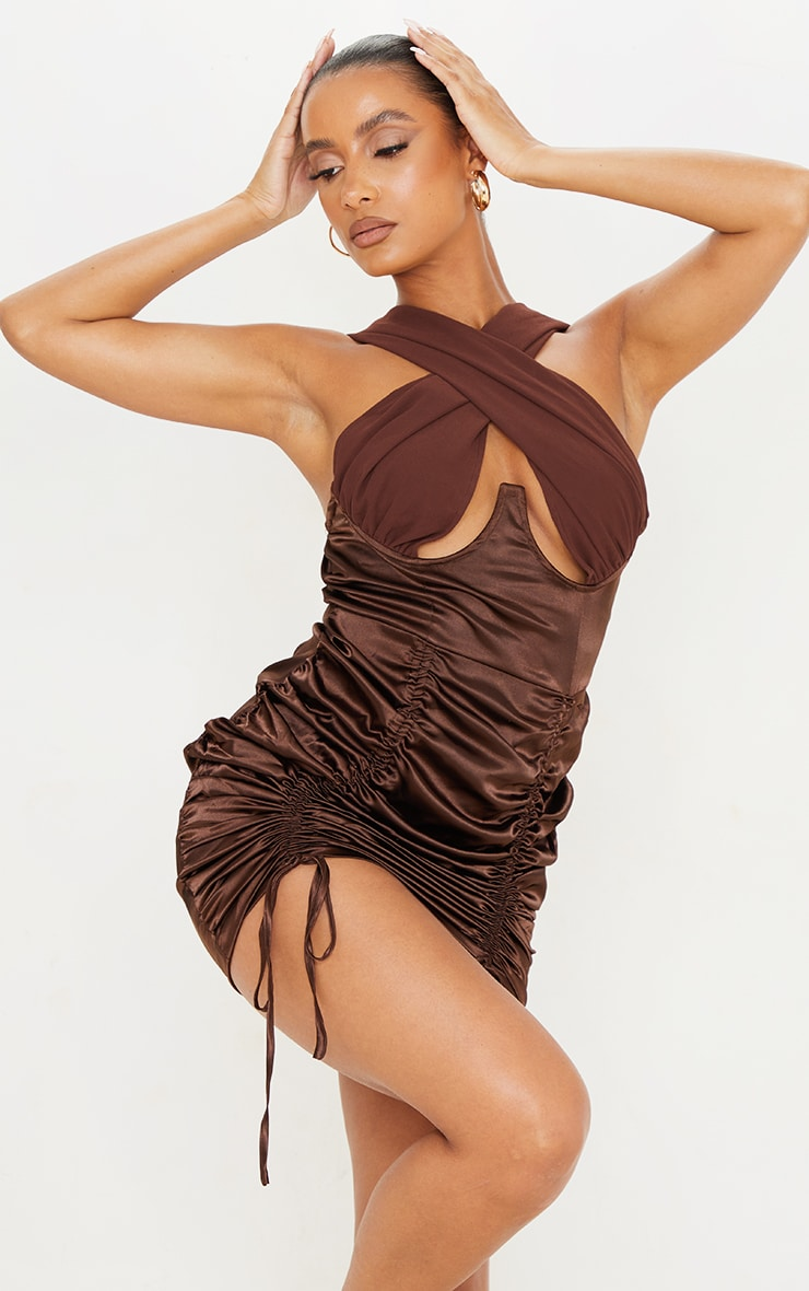 Chocolate Satin Halterneck Underbust Ruched Bodycon Dress