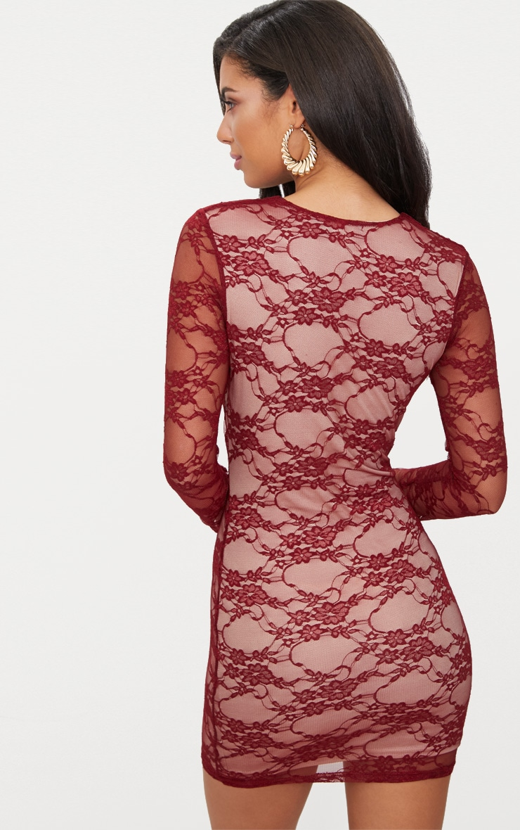 Burgundy Lace Long Sleeve Plunge Bodycon Dress  2