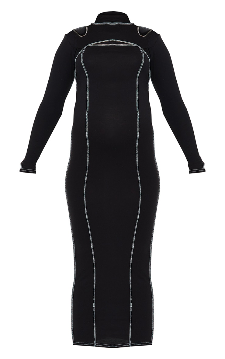 Maternity Black Cut Out Midi Dress 5