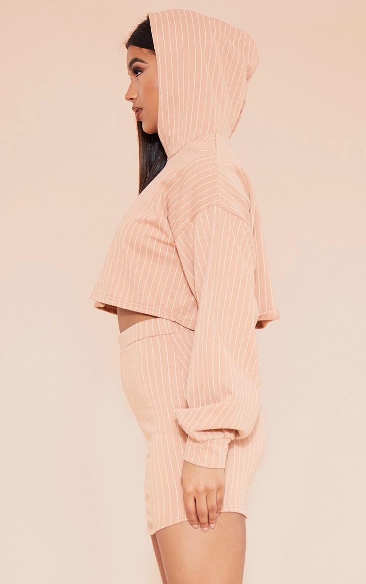 RECYCLED Pale Tan Pinstripe Crop Hoodie 2
