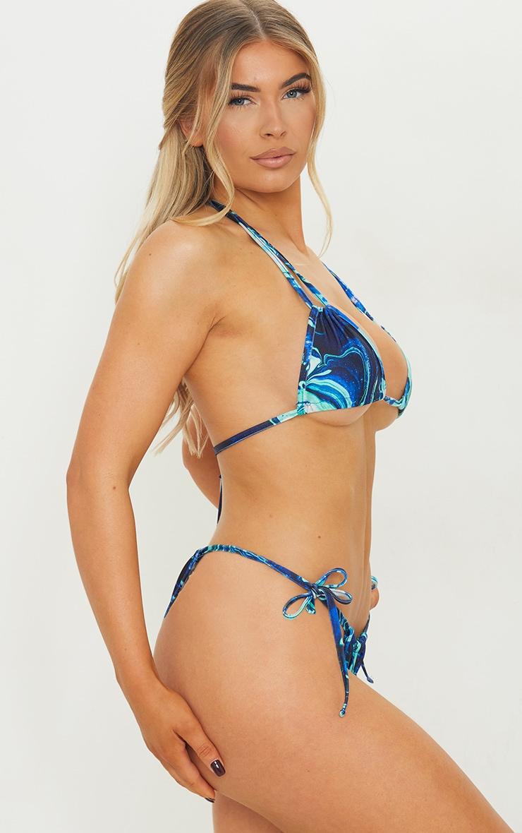 Blue Marble Mini Ruched Tie Side Bikini Bottoms 2