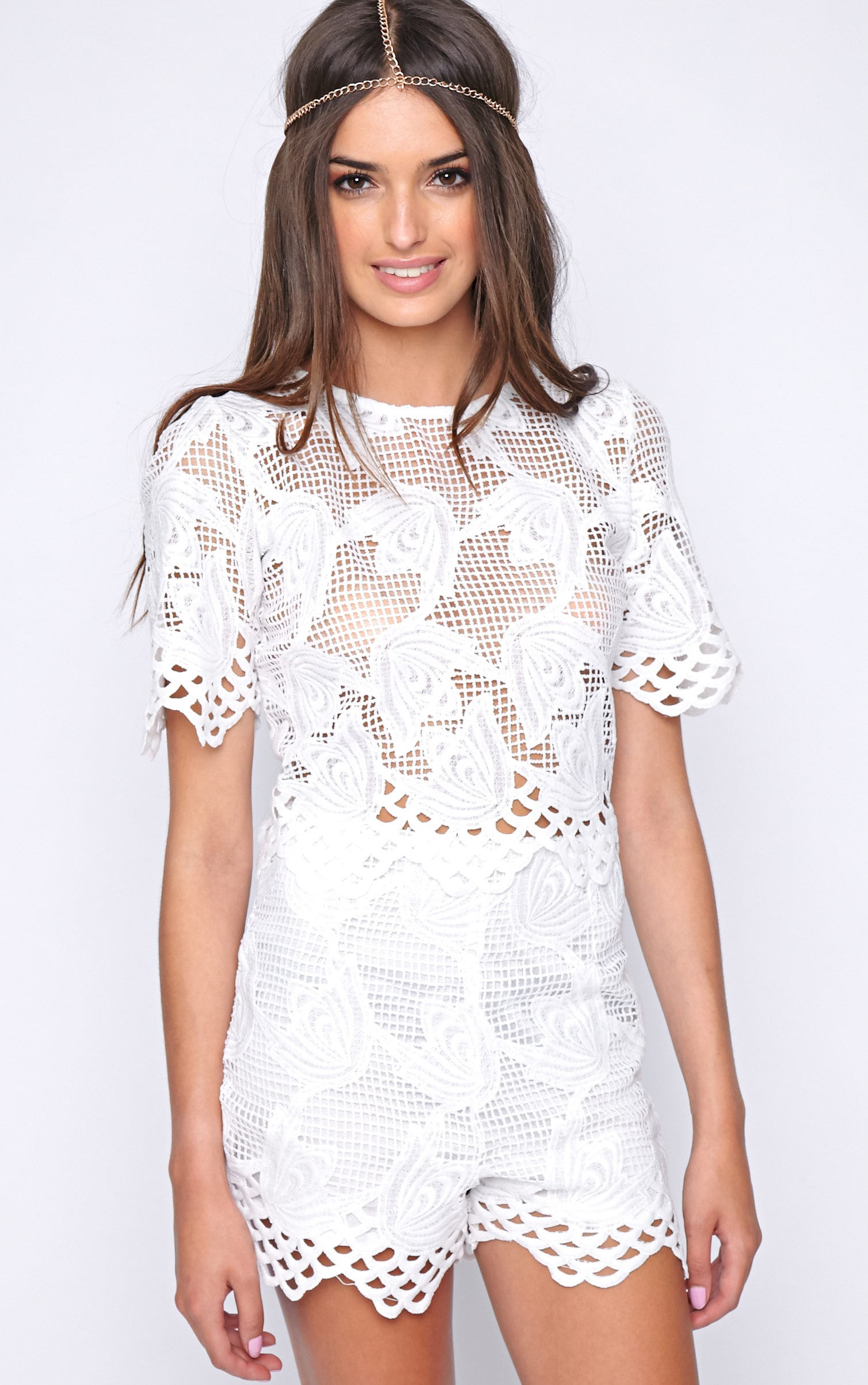 Fern White Crochet Boxy Crop 1