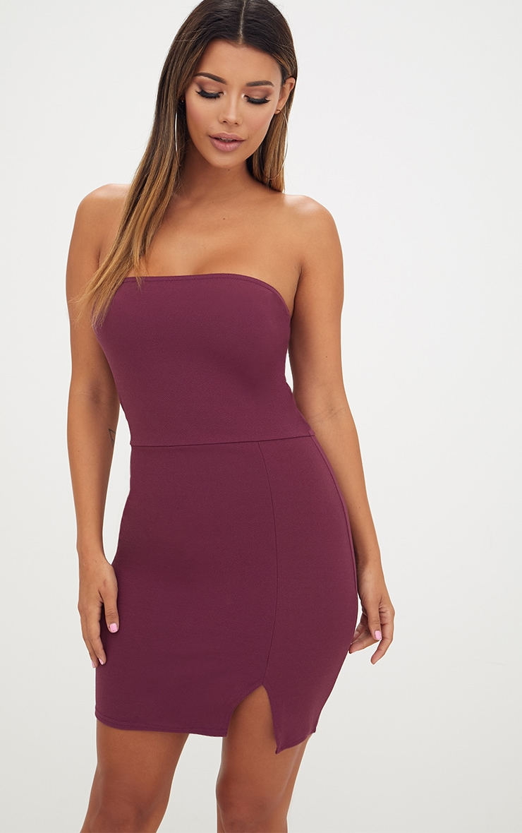 Aubergine Split Detail Bandeau Bodycon Dress 1