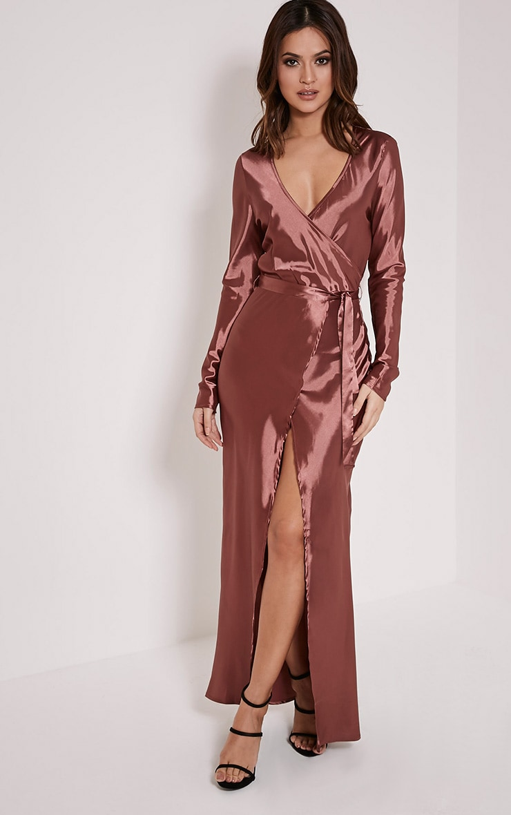 Aileen Bronze Wrap Front Tie Waist Maxi Dress 1