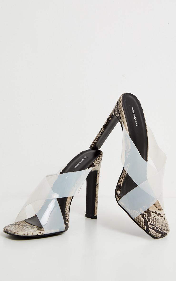 Snake Flat Heel Clear Mule Sandal 3