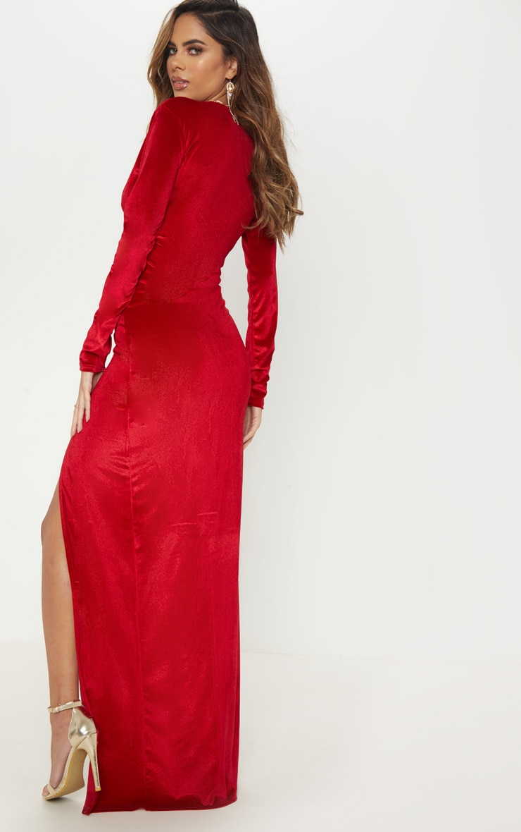 Red Velvet Plunge Split Leg Maxi Dress 2