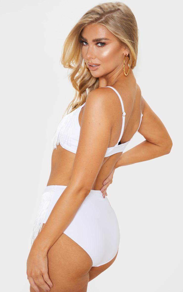 White Fringe Scoop Neck Bikini Top 2