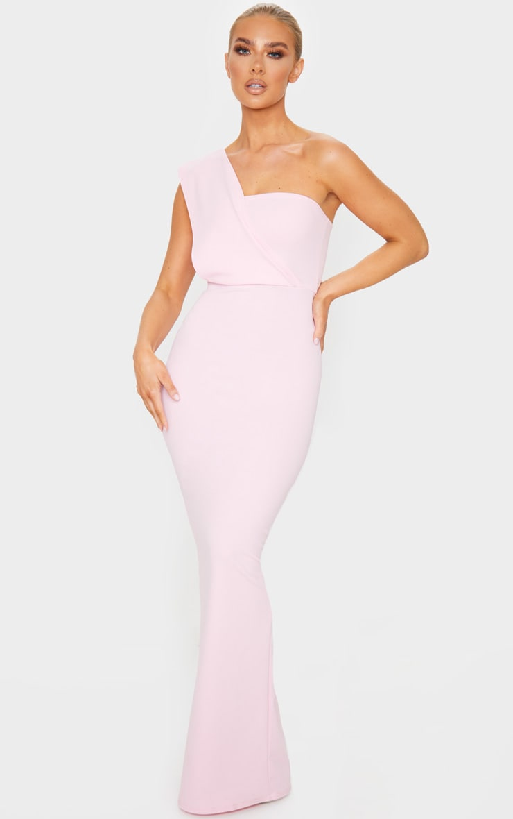 Baby Pink One Shoulder Maxi Dress 1