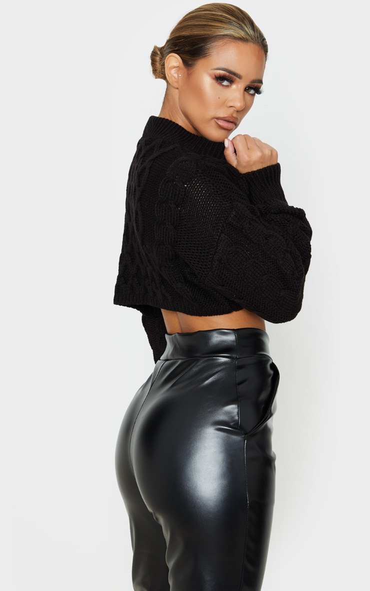 Petite Black Chunky Knit Super Cropped Sweater  2