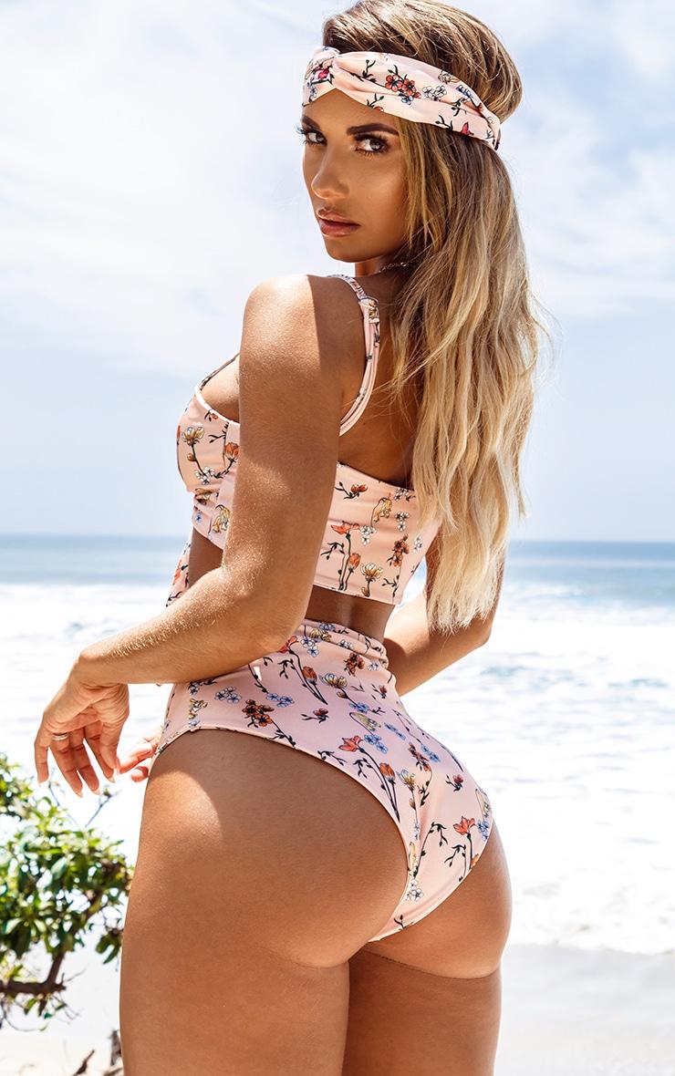 Peach Garden Print High Waist Bikini Bottom 2