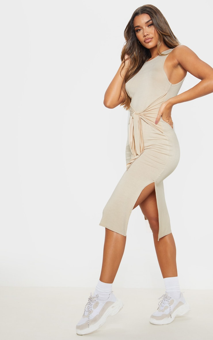 Beige Sleeveless Tie Waist Midi Dress 4