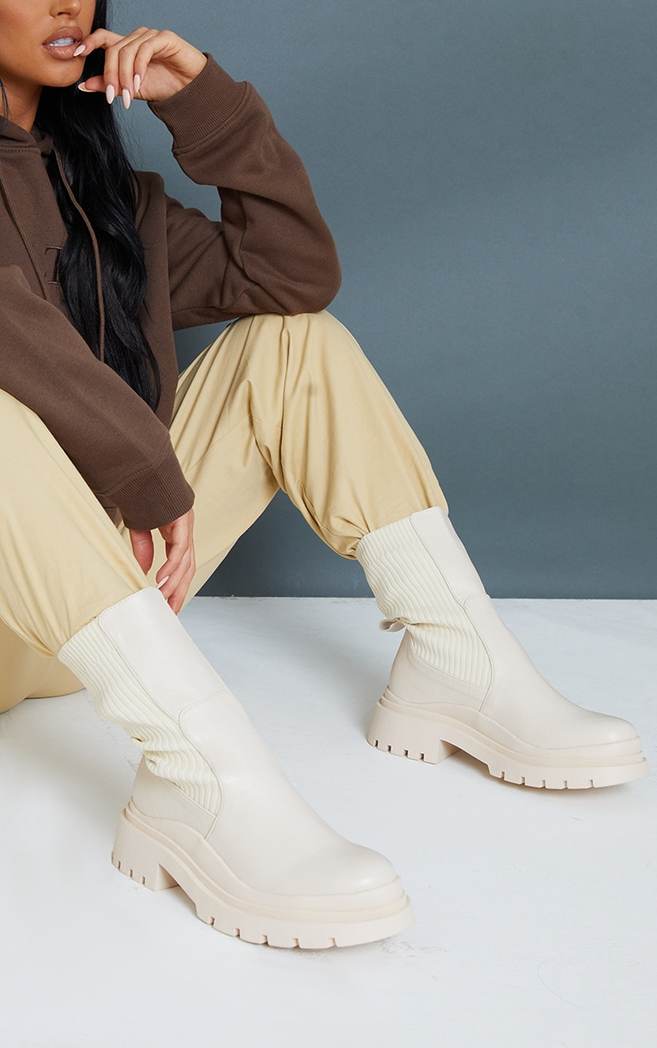 Cream Knitted Panel Wave Sole Chunky Calf High Ankle Boots 1