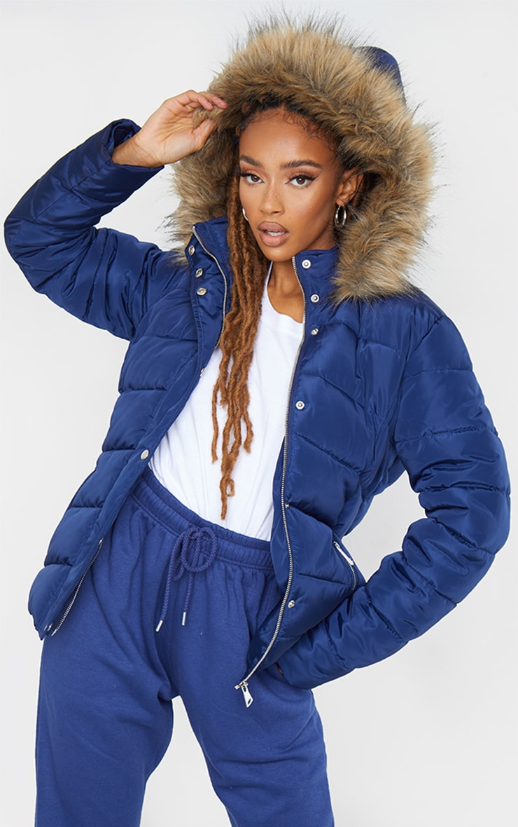 Blue Quilted Mara Faux Fur Hooded Puffer Jacket 2