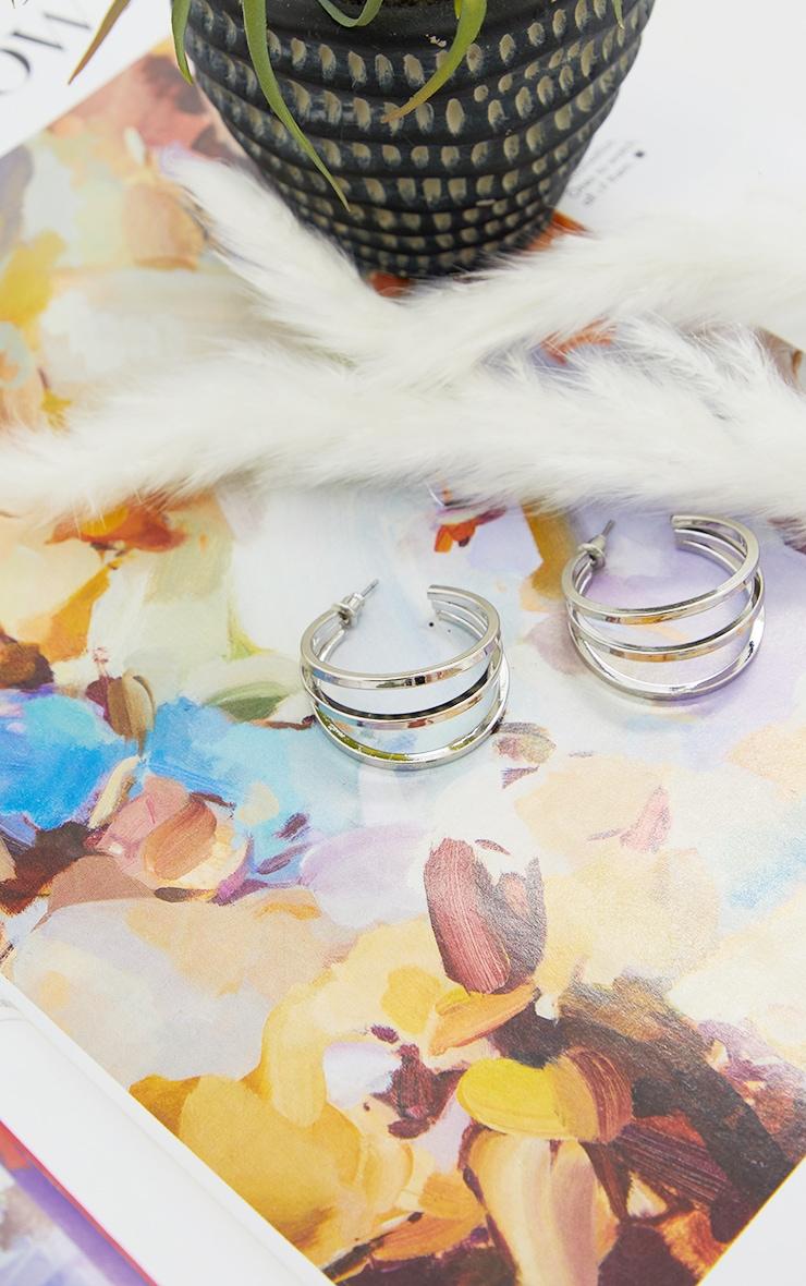 Silver Double Cut Out Hoop Earrings 2