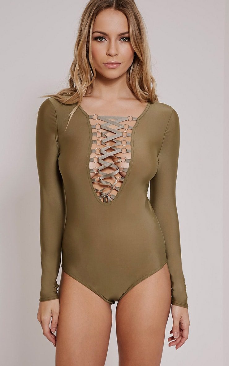 Enya Khaki Lace Up Front Bodysuit 4