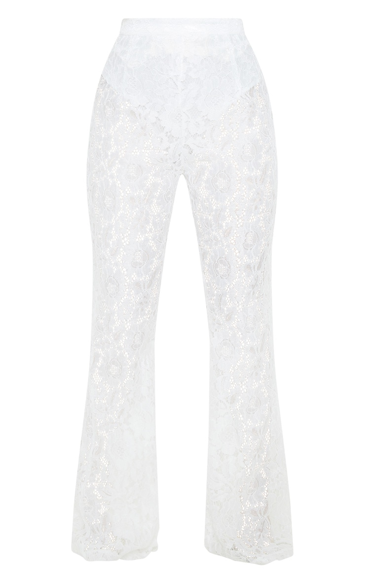 White Lace Sheer Flare Leg Trousers 3
