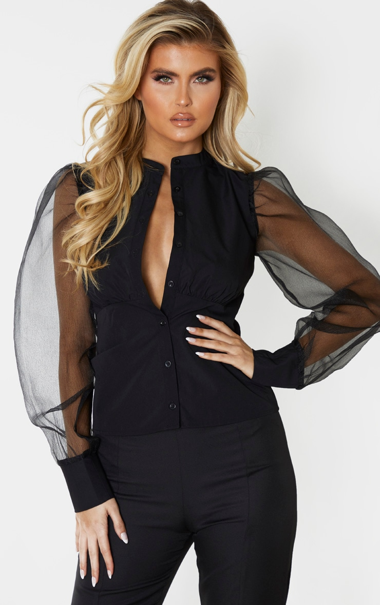Tall Black Organza Oversized Balloon Sleeve Blouse  1