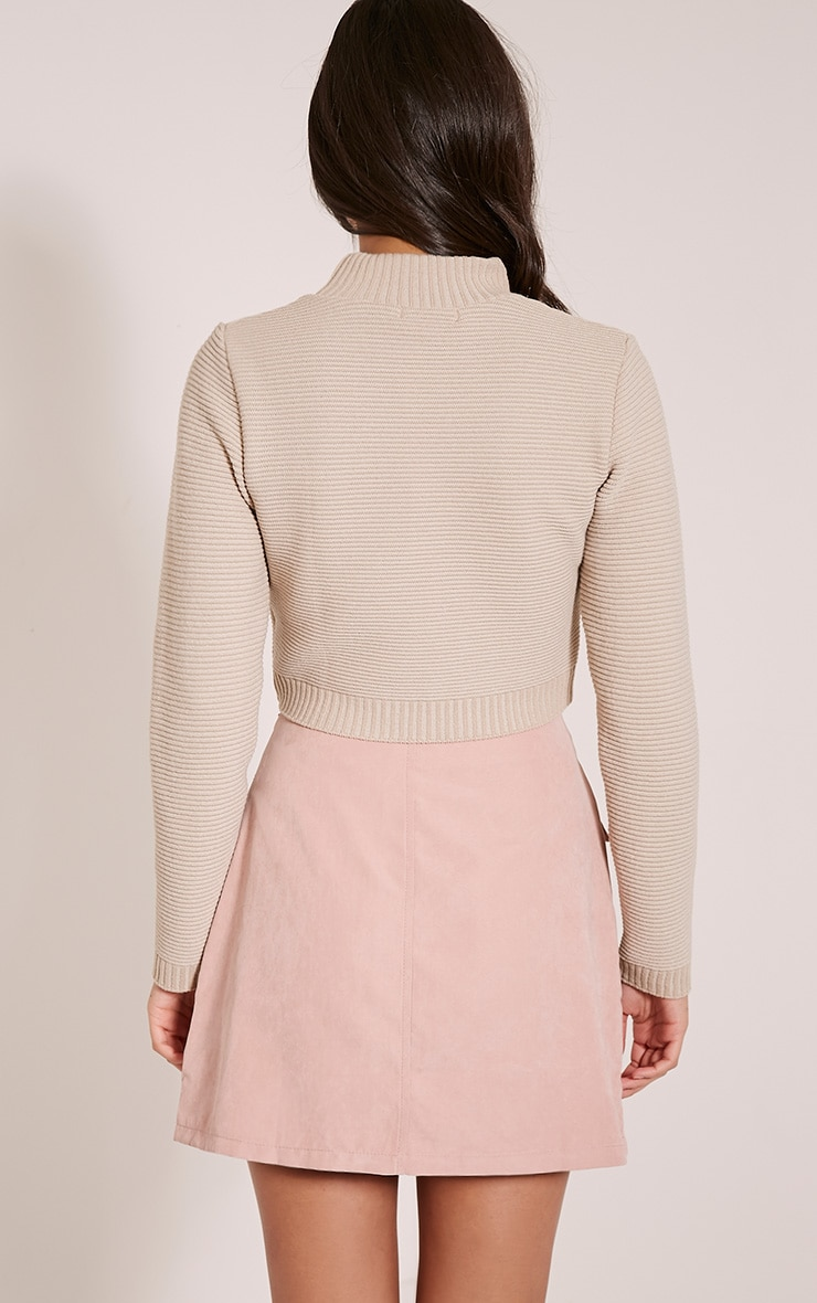 Stone Ribbed Crop Knitted Jumper  2