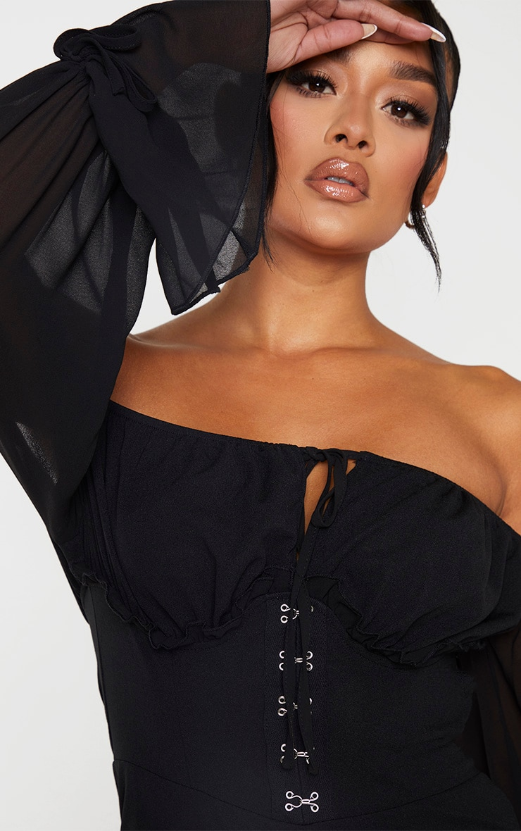 Black Corset Detail Chiffon Sleeve Playsuit 5