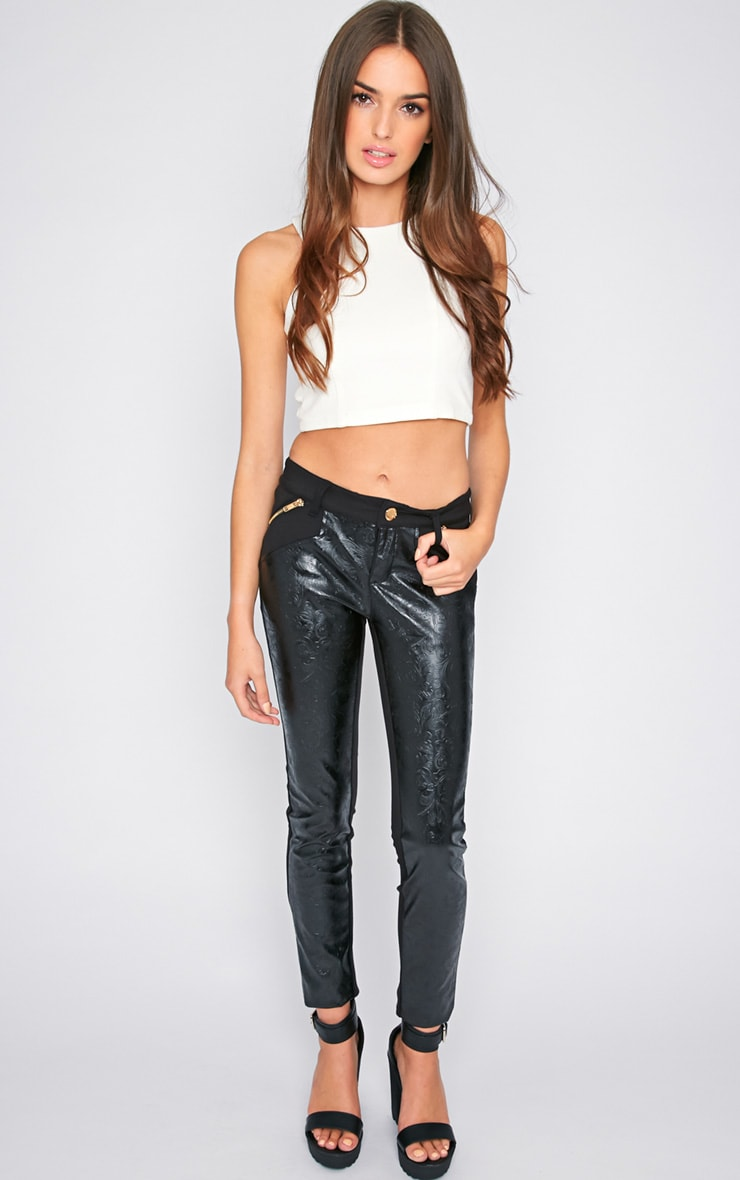 Sheree Black  Leather Panel Jeans With PU Floral Detail 1