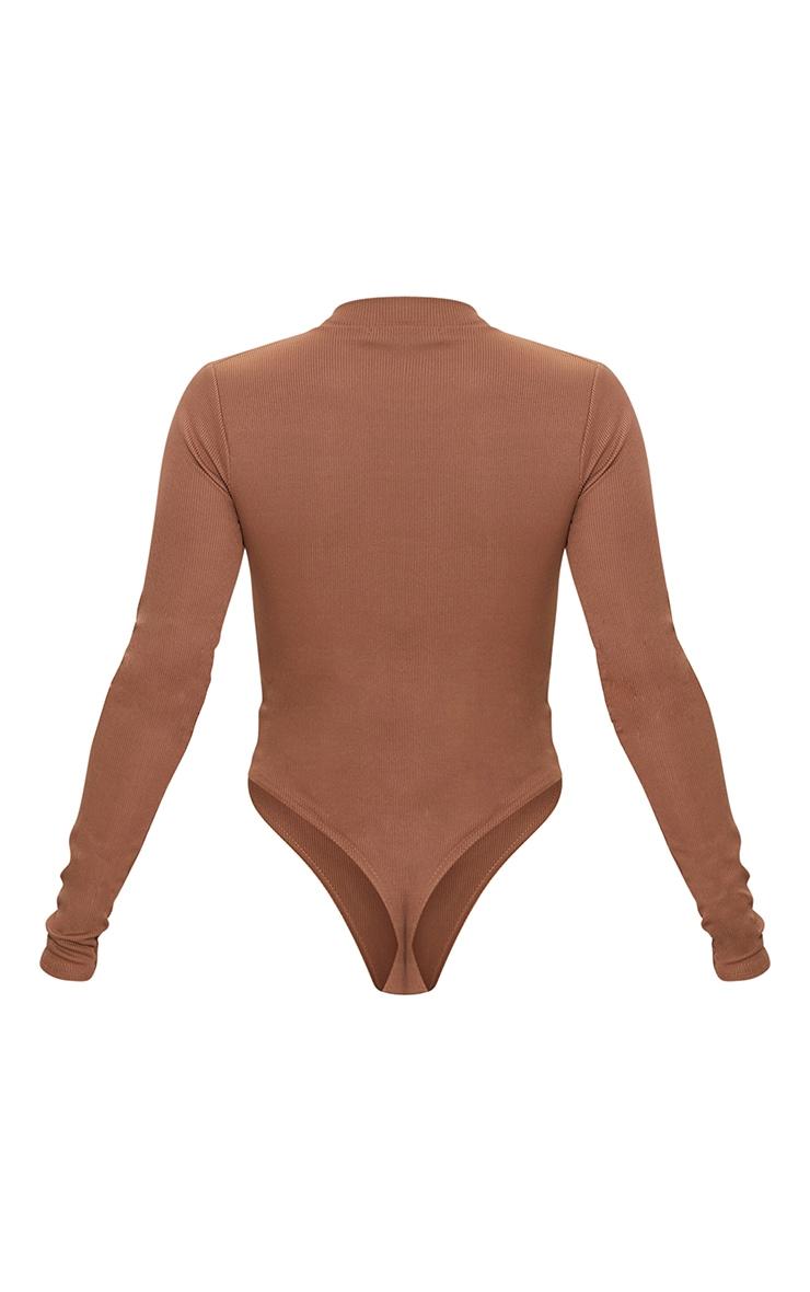 Brown Rib Zip Up Long Sleeve Bodysuit 6