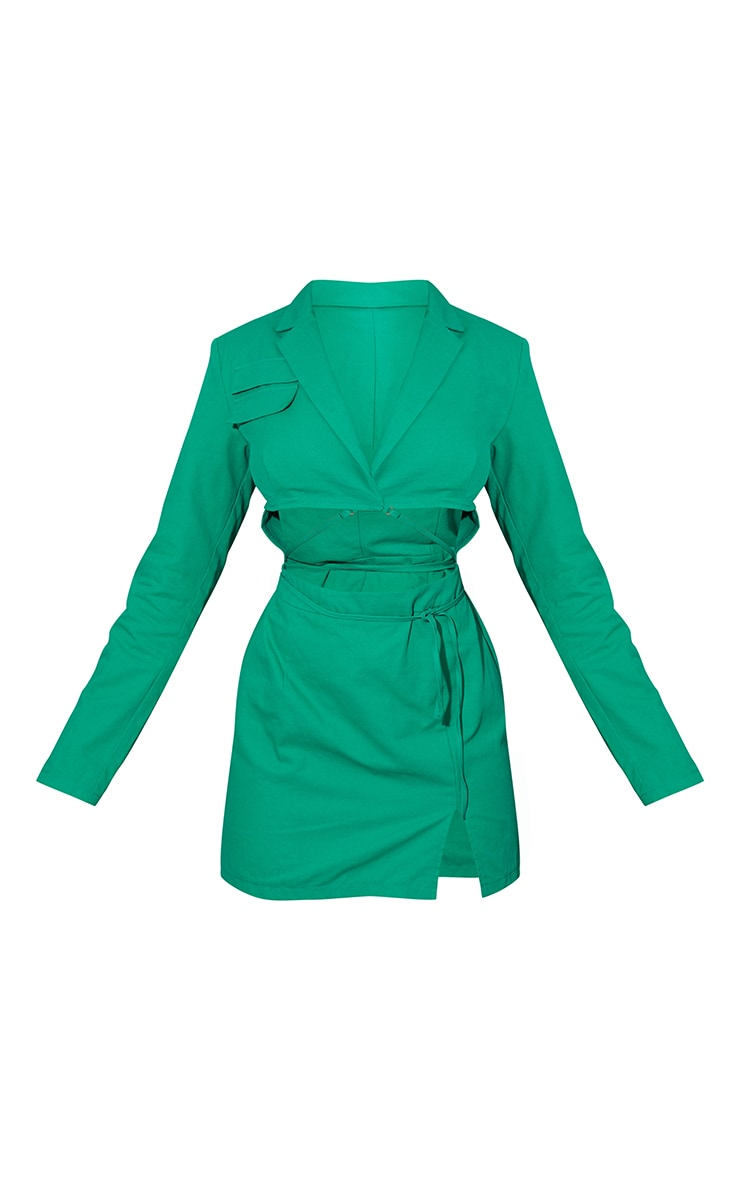 Green Woven Cut Out Tie Waist Utility Style Blazer Bodycon Dress 5