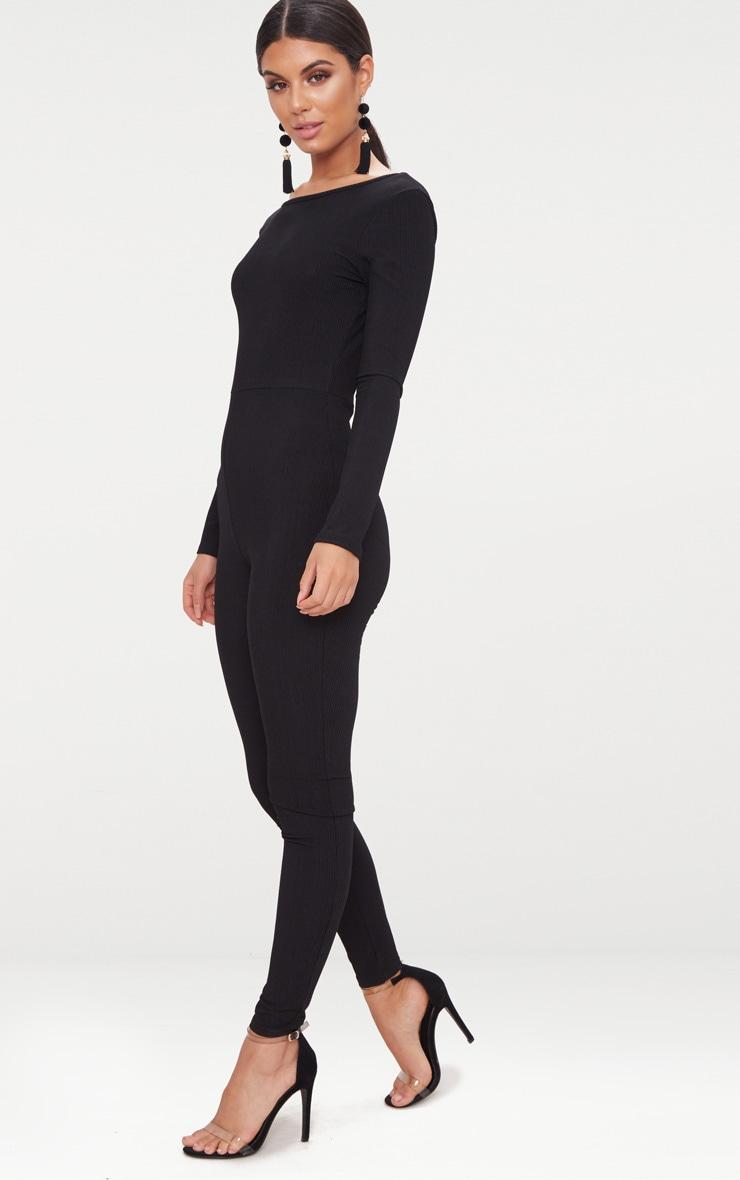 Black Ribbed Long Sleeve Scoop Back Jumpsuit 4