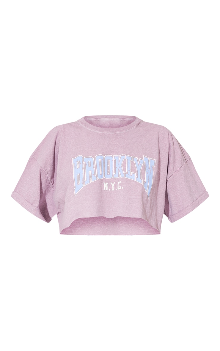Lilac Brooklyn Printed Washed Cropped T Shirt 5
