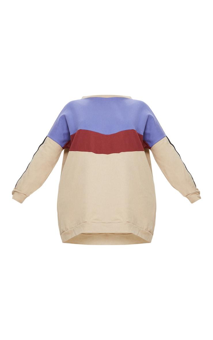 Plus Taupe Chevron Panel Oversized Sweater Dress 3