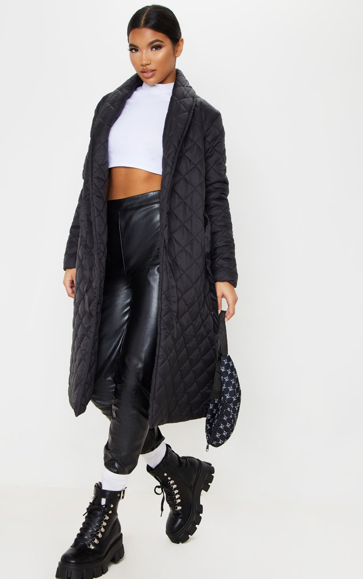 Black Quilted Side Tie Detail Longline Coat 1