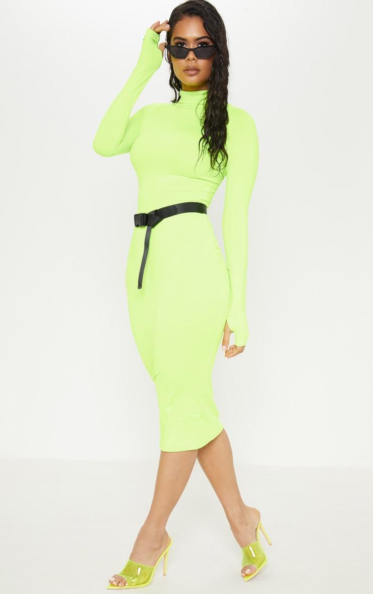 Lime Slinky Long Sleeve Zip Up Midi Dress